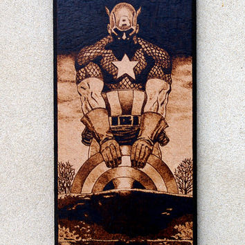 Captain America - woodburned home decoraion