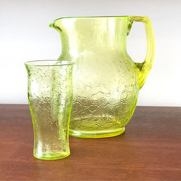 Vaseline Glass Pitcher Set  Raised Textured Art Glass Depression Glass Pitcher Bulbous Shape Molded Reed Handle Vintage 1920's 1930's