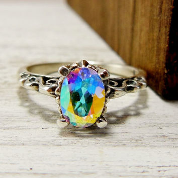 Mystic Topaz Engagment Ring, Topaz Solitaire Ring, Sterling Silver Topaz Ring, Rainbow Gemstone
