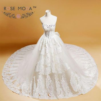 Luxury Full A Line Wedding Dress Royal Cathedral Train with Bow Lace Appliqued Bridal Gown Vestidos de Noiva Real Photos