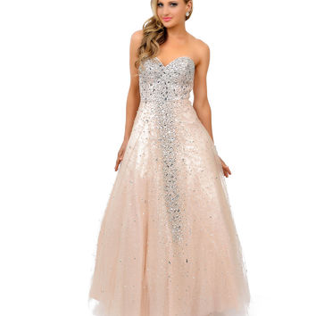 Champagne Sequin Beaded Strapless Sweetheart Tulle Ball Gown 2015 Prom Dresses