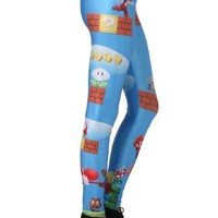 Romwe Women's Classic Super Mario Game Pattern Spandex Leggings