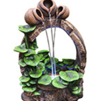 """22"""" Barrel Pot Cascading Fountain with LED Lights"""