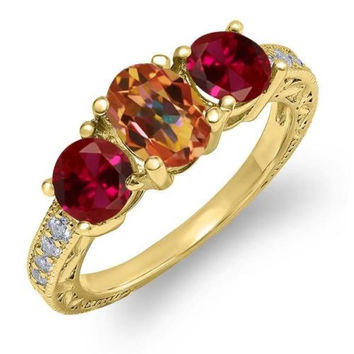 2.12 Ct Ecstasy Mystic Topaz Red Created Ruby 18K Yellow Gold Plated Silver Ring