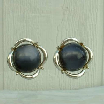 CORO Dark Gray Moonglow Lucite Cabochon Clip Earrings 1950s Vintage