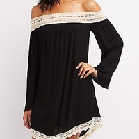 Lace-Trim Off-The-Shoulder Shift Dress