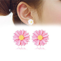 New Brand Summer Style Flowers Earring For Women Brincos Allergy Free No Ear Hole Magnetic Earings Women Brincos Jewelry Gift