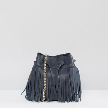 Whistles Micro Sidney Fringe Leather Pouch Bag in Navy at asos.com
