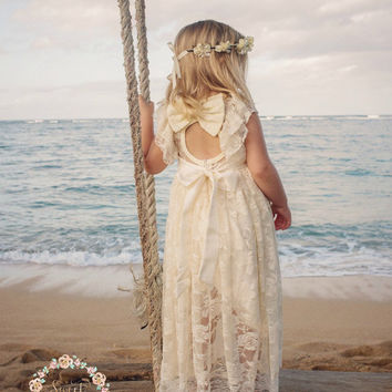 beach flower girl dress, junior bridesmaid dress, rustic flower girl, bohemian flower girl dress, country flower girl dress,Ivory lace dress