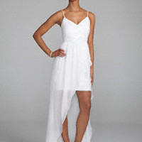 Spaghetti Strap Beaded Bodice with High-Low Skirt