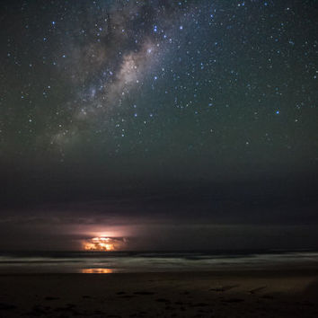 The Worlds - Lightning Storm - Over - Ocean - Stars Photography - Australia Art - Milky Way Photograph - Galaxy - Universe - Wall Art