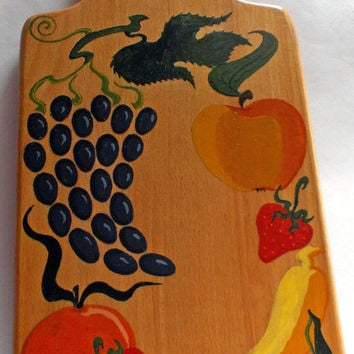 Painted Chopping board, Wooden Cutting Board, Summer gift, Original board, housewarming board, Hostess Gift Unique gift, Handmade, Fruit