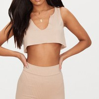 Nude Rib Deep V Raw Edge Crop Top