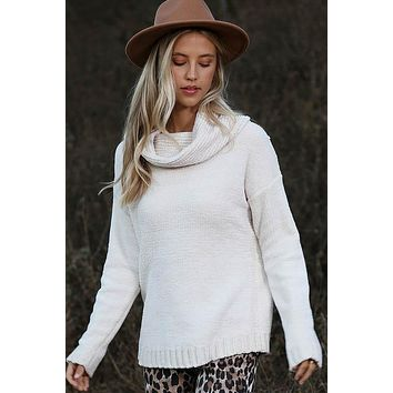 Knit Cowl Neck Sweater - Ivory