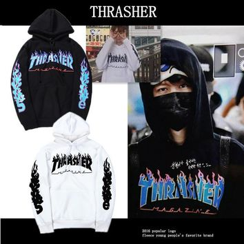 Thrasher Fleece Cotton Hoodie Sweater S Xxl