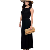 1970s Style Black Spell Bound Grecian Knit Maxi Dress