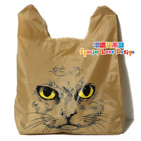Fashion Personalized Muchacha Ahcahcum Japan Cute 3D Pussy Cat Face Head Printed Shopping Reusable Produce Tote Bags Brown Plastic Pouch
