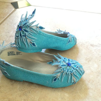 Elsa's Flat Shoes Inspired By Disney Movie Frozen For Children with Hand Painted and Decorated Snowflakes