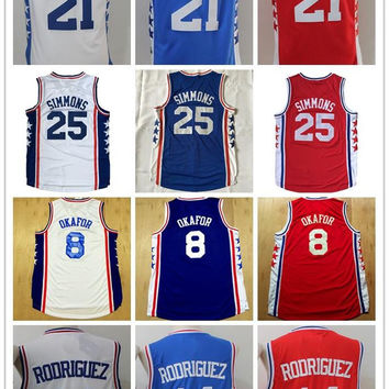 Best 8 Jahlil Okafor 14 Sergio Rodriguez Blue 21 Joel Embiid White 25 Ben Simmons Christmas Day Red Basketball Jerseys 13 Chamberlain Retro