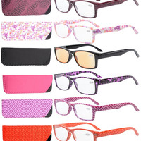 R066 Eyekepper 6-Pack Spring Hinges Patterned Rectangular Reading Glasses Include Computer Readers Women  +0.50----+4.00