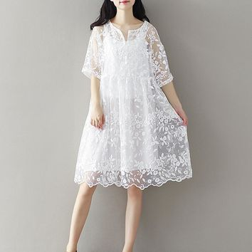Korean Women Loose Plus Size Lace Embroidered Dress Mori Girl White Fairy Lace Gauze Hippie Crochet Summer Gothic Dress Tunique