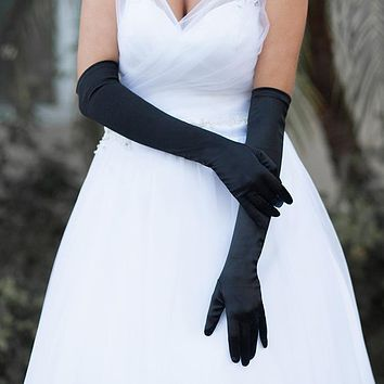 Long Satin Dress Gloves