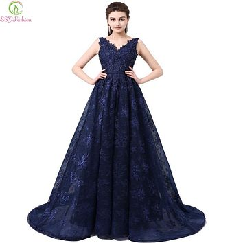 SSYFashion Dinner Party Evening Dress 2017  Style The Bride Elegant Lace V-neck  Backless Sweep Train Long Prom Dresses Custom