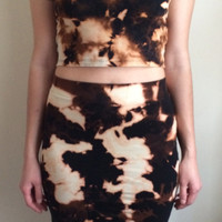 Black Bleached Crop Top and Skirt Two Piece Set