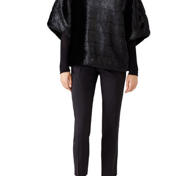 kate spade new york Black Faux Mink Cape