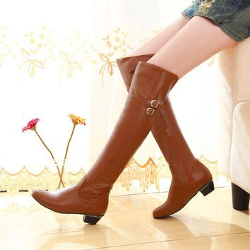 Solid Color Low Chunky Heel Round Toe Over-knee Long Boots with Plus Size