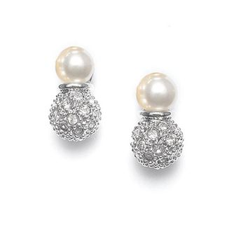 Ivory Pearl Bridal Earrings with Pave CZ Crystal Clusters