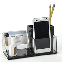 Unum™ Business Card Desk Organizer Combo Holds Pens, Pencils, Paperclips, Cell Phone, Glasses, Scissors; Handcrafted of Premium Black and Clear Cast Acrylic