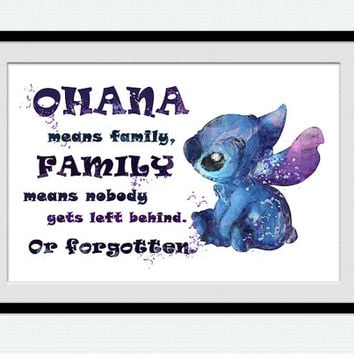 Lilo and Stitch ohana quote print Lilo and Stitch watercolor poster Disney art decor Home decoration Kids room wall art Nursery decor W33