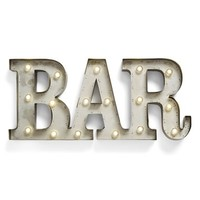 Creative Co-Op 'BAR' LED Marquee Sign - Metallic