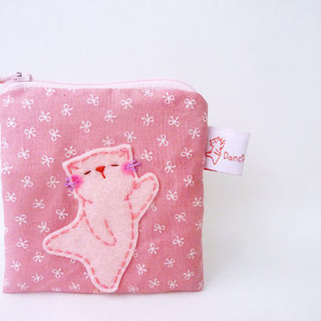 Pink Cat Pouch, Cat Coin Purse, Cotton Pouch, Coin Purse, Cat Wallet, Cat Purse, Sweet Gift - Dancing Kitty
