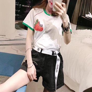 """""""Gucci"""" Women Fashion Multicolor Cute Strawberry Embroidery Short Sleeve T-shirt Tops Tee"""