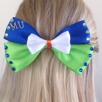 Monsters University Pixar Blue and Green Monster Bow by Design Bowtique