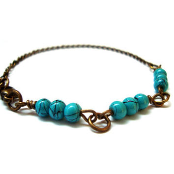 Simple Feminine Beaded Turquoise Bracelet . Antique Bronze Tone. Stackable Jewelry.Blue Jewelry