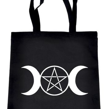 Triple Moon Goddess Pentagram Tote Book Bag School Goth Occult Witch
