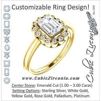 Cubic Zirconia Engagement Ring- The Aabha (Customizable 13-stone Emerald Cut Design with Floral-Halo Round Bezel Accents)
