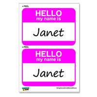 Janet Hello My Name Is - Sheet of 2 Stickers