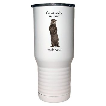 "I""m Otterly ( Utterly) in Love With You Camel White Travel Mug- 20 ounce"