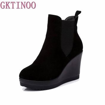 Ankle Heel Boots antumn/winter Style Ankle Boots For Women  Martin Boots Wedges Boot Women's Shoes Q6718