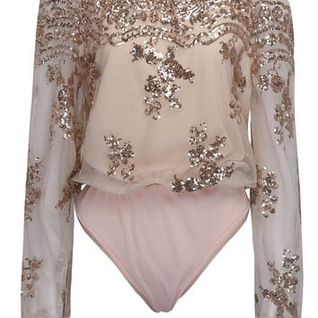 Pink Off Shoulder Sequins Embroidery Sheer Flared Sleeve Bodysuit