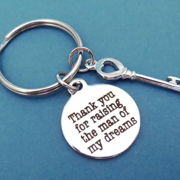 Gift, For, Mother in law, Thank You, For raising the man of my dreams, Key, Ring, Key, Chain, Keyring, Gift, Key chain