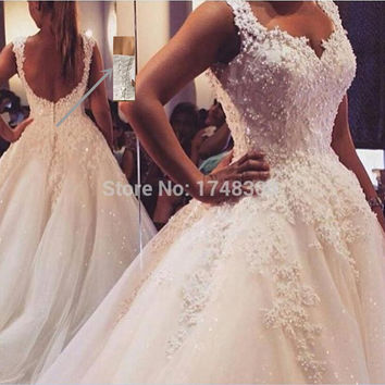 9076 Ball Gown Real Images Vestido De Novia Tulle Wedding Dress 2016 with Pearls Bridal Dresses Robe de Marriage Wedding Gowns