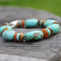 Mexican Bracelet Boho Style Jewelry Howlite Turquoise Amber Teal Blue Orange Chunky Toggle  Natural Jewerly OOAK