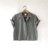 Vintage cropped sage green top. Button up linen & rayon shirt. minimalist shirt. boxy loose fit tshirt.