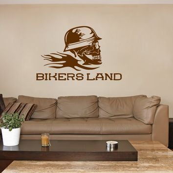 ik288 Wall Decal Sticker Decor skull helmet motorcycle riders interior