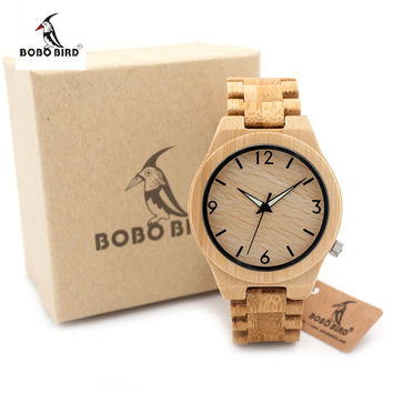 2017 Brand BOBO BIRD Men's Wooden Watches With Bamboo Strap Wrist Watch Men Wood Wristwatch Watch as Gifts for Friend D27